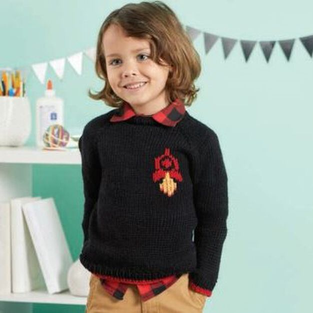 Red Heart Chic Knit Rocket Ship Sweater, 0/3 mos in color