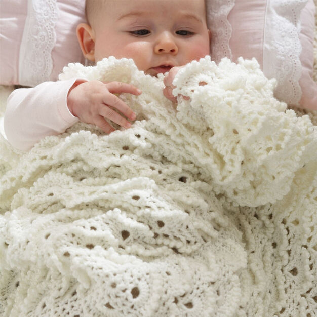 Patons Fluffy Meringue Stitch Blanket in color