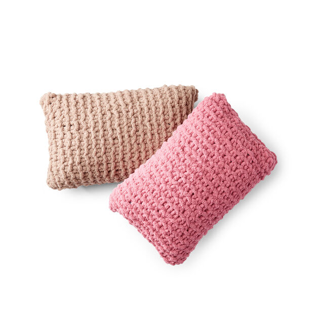 Bernat Garter Stripe Duo Knit Pillows