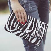 Dual Duty Elegant Zebra Print Cross Stitch Clutch