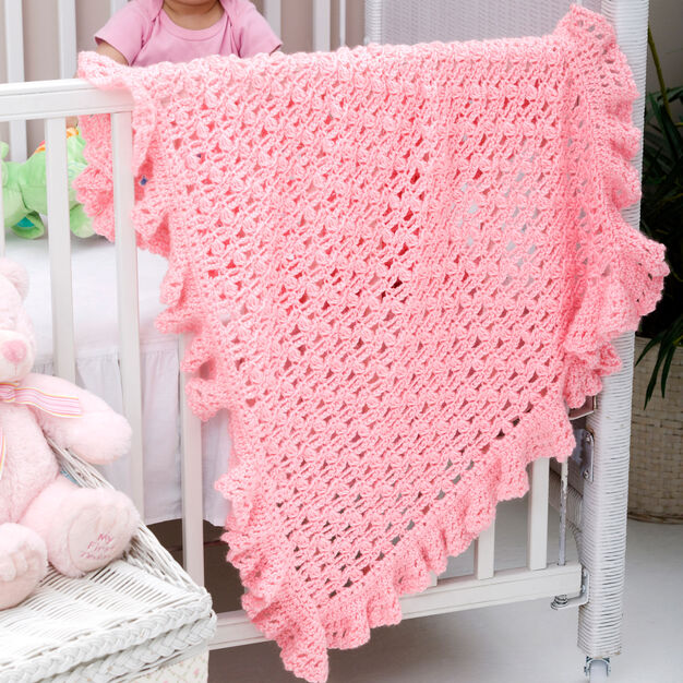 Red Heart One Ball Ruffled Blankie in color