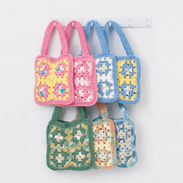 Lily Sugar'n Cream Granny Square Bags, Green Bag in color
