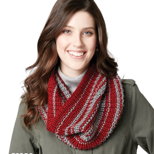Caron Shake It Up Striped Knit Cowl in color