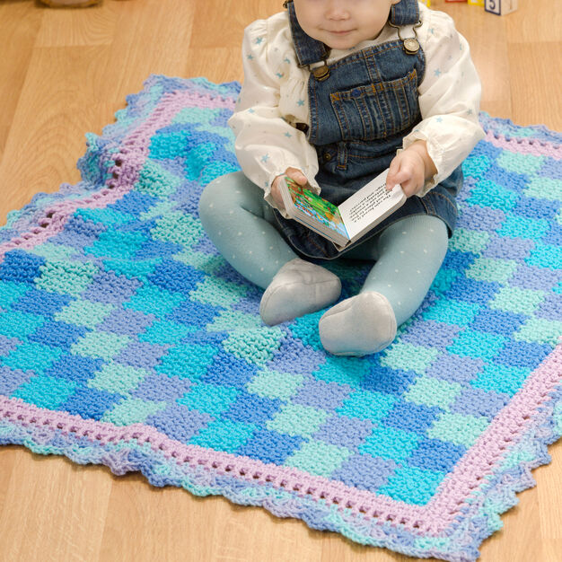 Red Heart Baby Blues Blanket in color