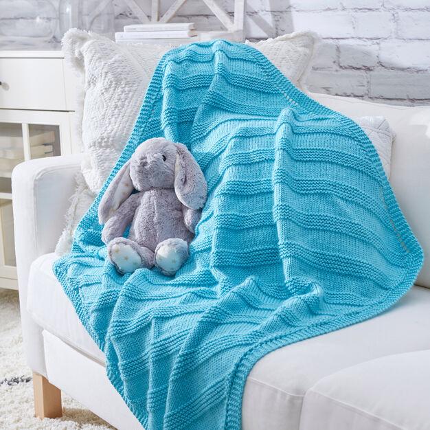 Cuddly Knit Baby Blanket pattern in Red Heart Soft Essentials yarn