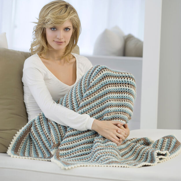 Red Heart Dots & Dashes Crochet Throw in color
