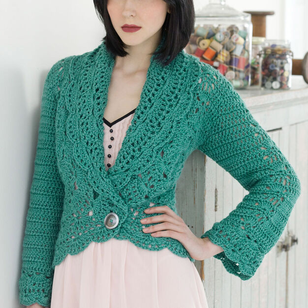 Red Heart Filigree Cardigan, S in color