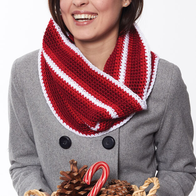 Caron Holiday Stripes Cowl in color