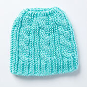 Caron Twist Stitch Messy Bun Crochet Hat