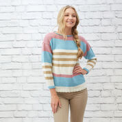 Red Heart Coastal Stripes Pullover, XS
