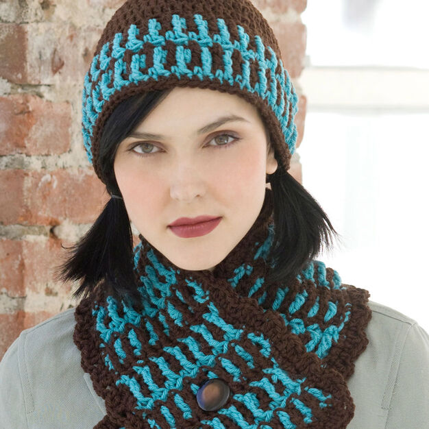 Red Heart Lake House Hat & Scarf in color