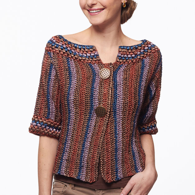 Patons Funky Stripes Crochet Cardigan, M in color