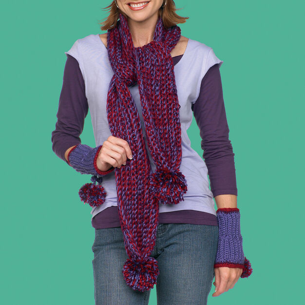 Red Heart Crochet Scarf Hat and Wristlets, S in color