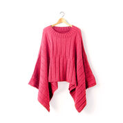 Patons Reversible Ribbed Knit Poncho, XS/S/M, Coral