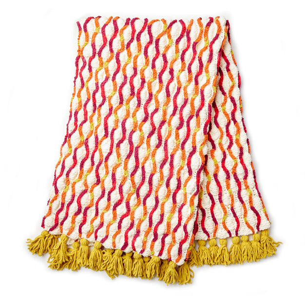 Bernat Trellis Tassels Knit Afghan Pattern Yarnspirations