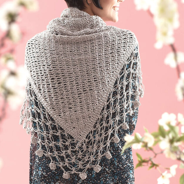 Patons Lace Edge Shawl in color