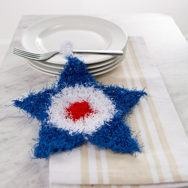 Red Heart Patriotic Crochet Scrubby in color