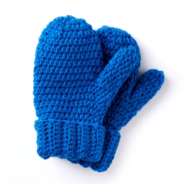 Caron Hands Full Crochet Mittens Blue Yarnspirations