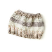 Red Heart Striping Messy Bun Hat, S