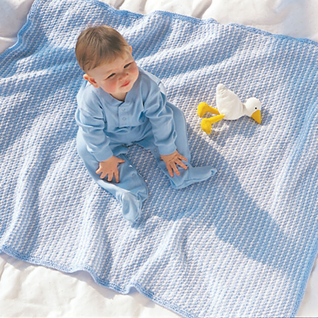 Bernat Favorite Blue/White Blanket in color