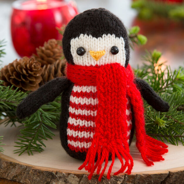 Red Heart Cheerful Holiday Penguin in color