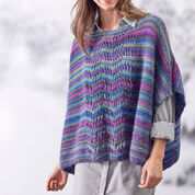 Red Heart Lace Panel Knit Poncho, S