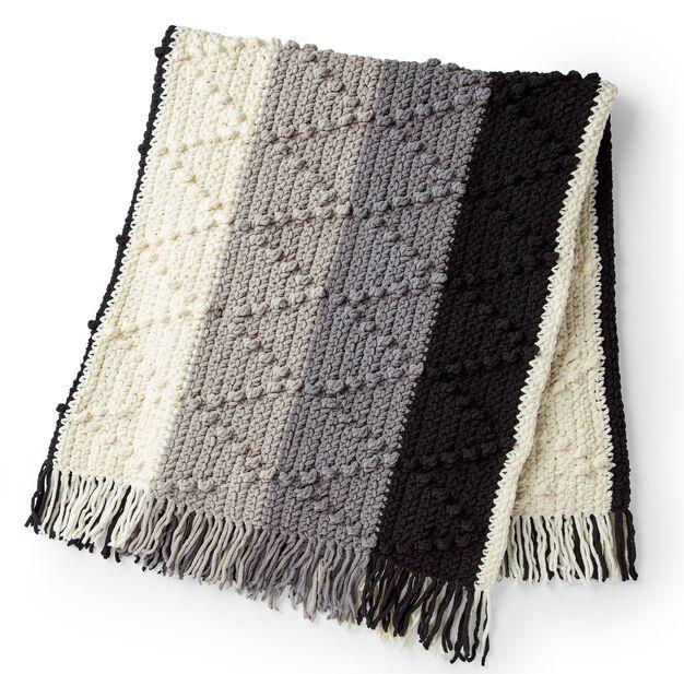 Bernat Bobble Chevron Striped Crochet Blanket in color