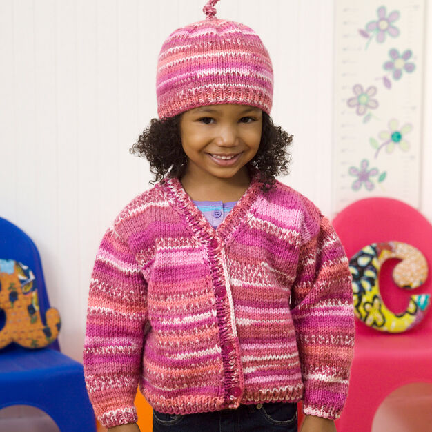 Red Heart Cute Cardi & Hat, 2 yrs in color