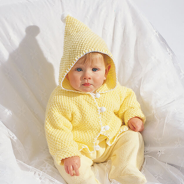Bernat Hooded Baby Jacket, 6 mos in color
