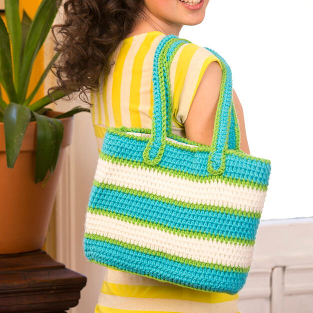 Red Heart Striped Tote Bag in color