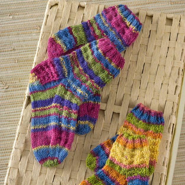 Red Heart Colorful Knit Kids Socks, 12 mos
