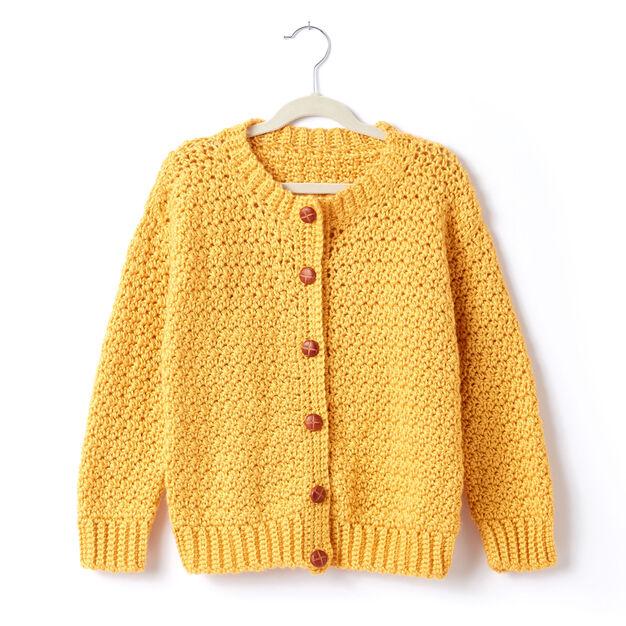 Caron Adult Crochet Crew Neck Cardigan, XS/S