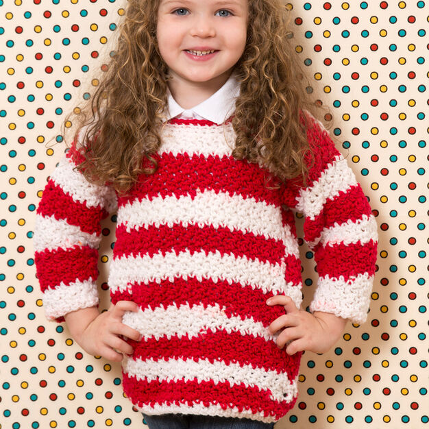 Red Heart Game Day Crochet Sweater, 2 yrs in color