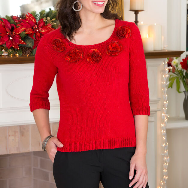Red Heart Party Sweater, S in color