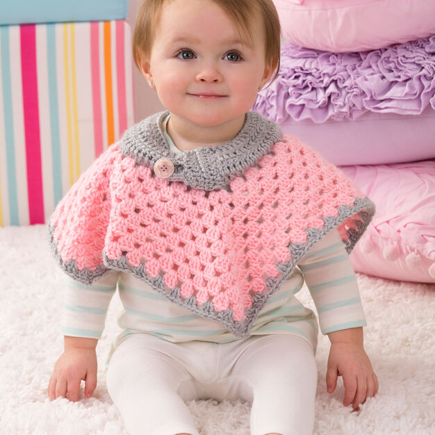 Red Heart Sweet Baby Poncho. 6 mos in color