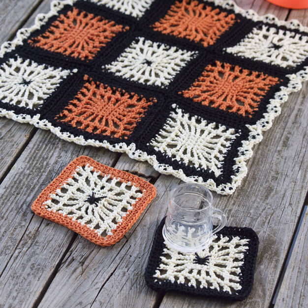 Red Heart Spiderweb Coasters and Halloween Table Center in color