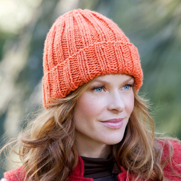 Red Heart Easy-Fit Ribbed Hat in color