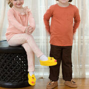 Red Heart Bear and Chick Slippers, S