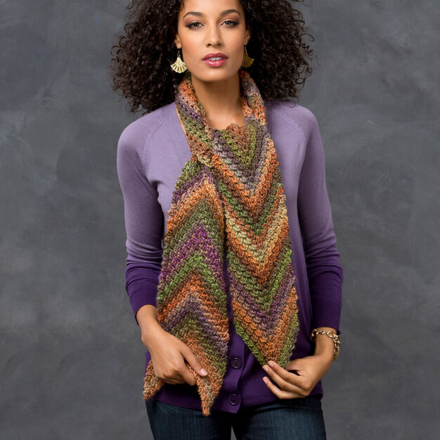 Red Heart Desert Arrow Scarf in color