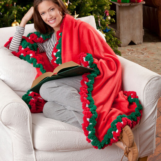 Red Heart Holiday-Edged Fleece Throw in color