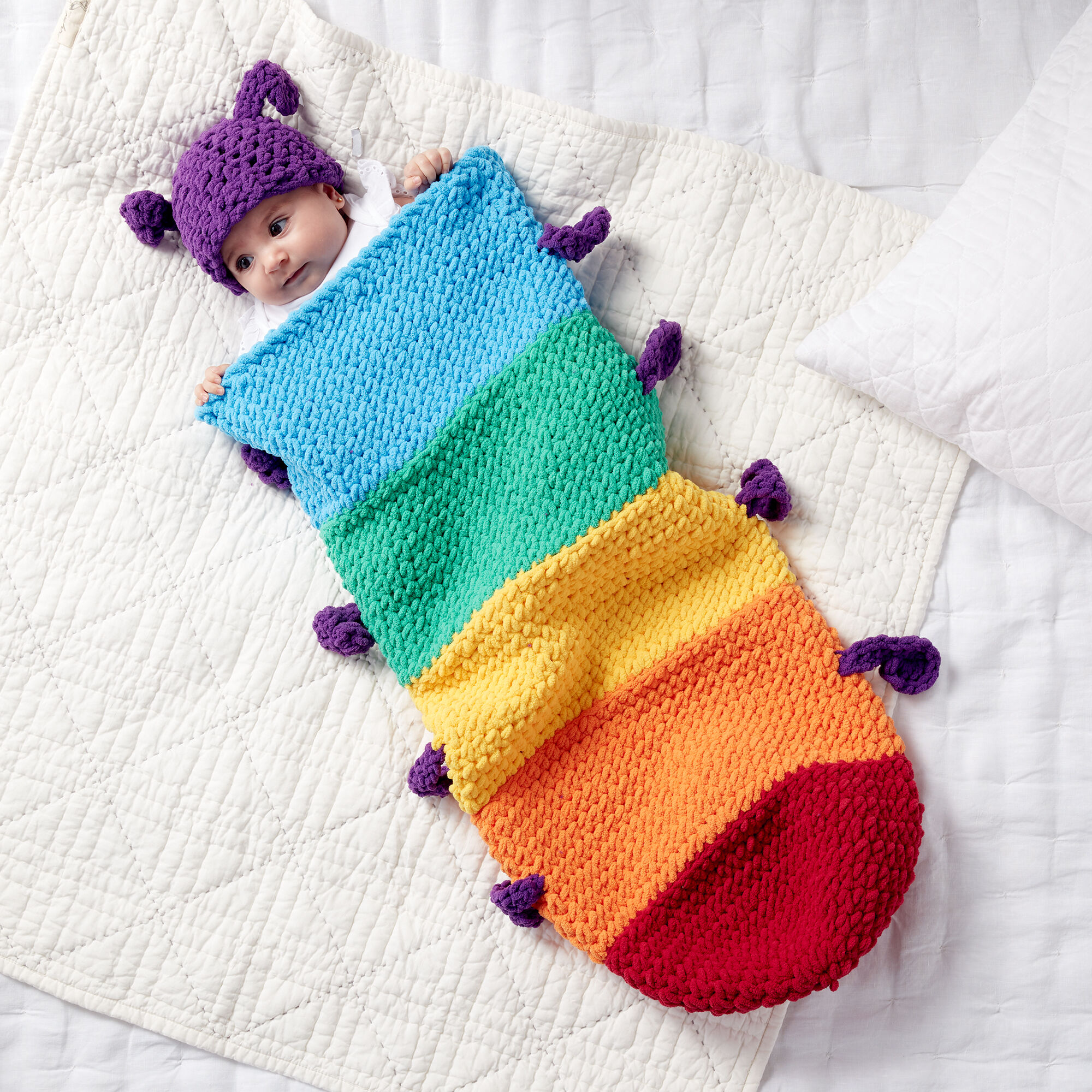 Free Crochet Snuggle Sack Caterpillar pattern for baby