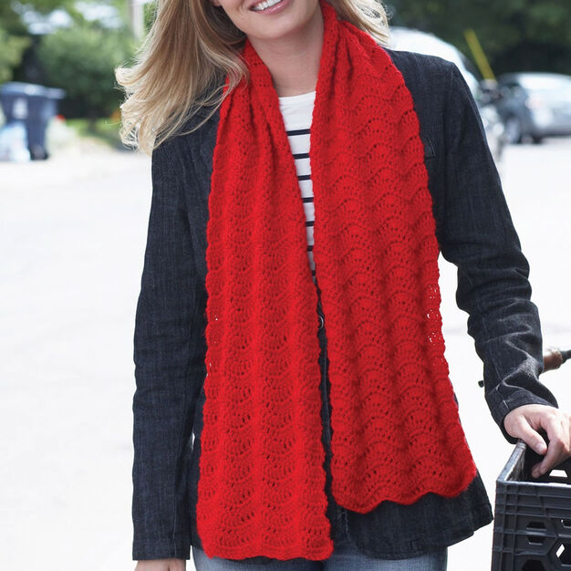 Bernat Red Friday Scarf in color