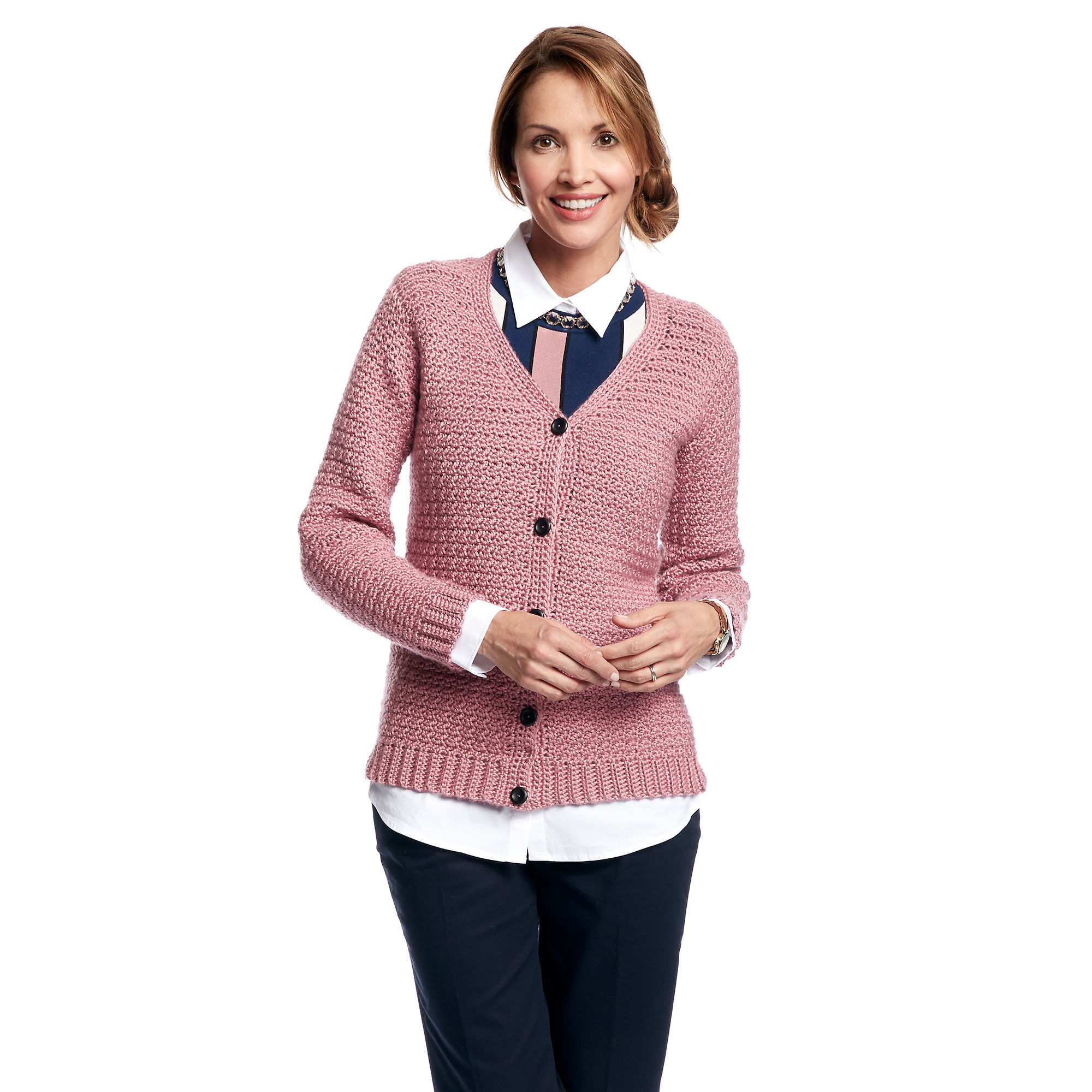 e68f78b3c678 ... Caron Adult Crochet V-Neck Cardigan