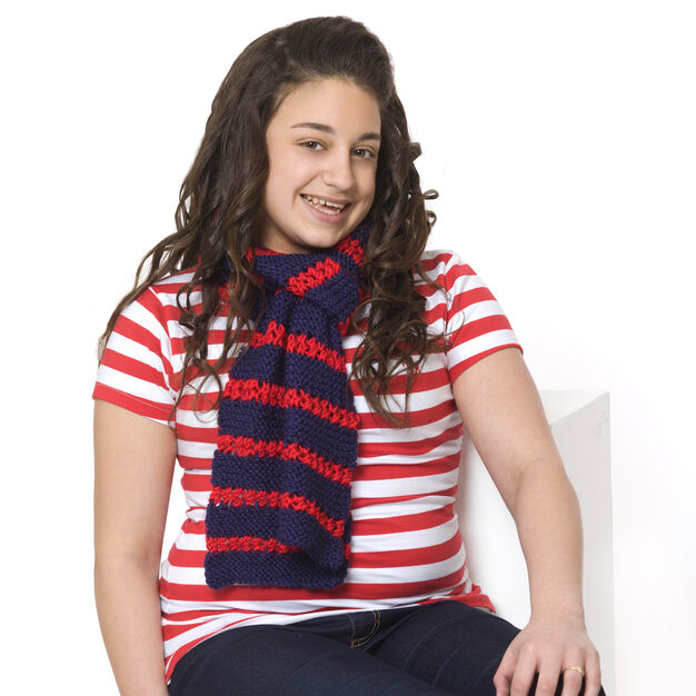 Red Heart Heroic Stripes Scarf in color