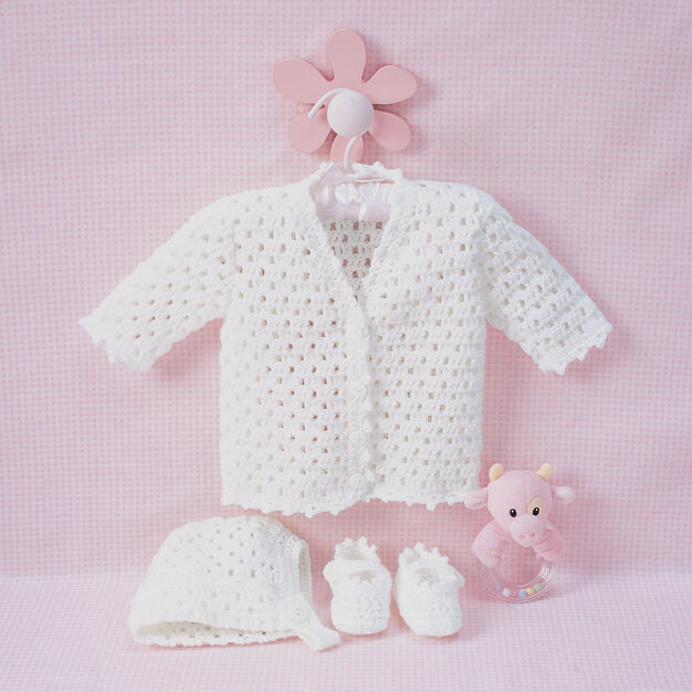 Bernat Lacy Set to Crochet, Cardigan - 6 months