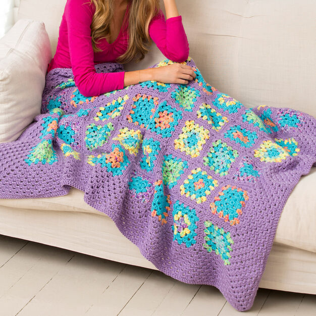 Red Heart Cheerful Granny Square Throw