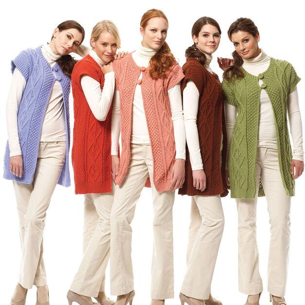 Bernat Long Cable Vest, Lavender - XS/S