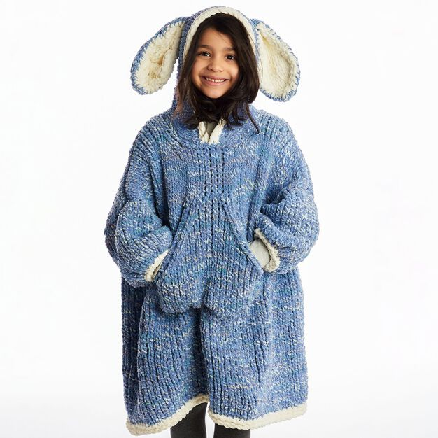 Bernat Funny Bunny Kids Knit Blanket Hoodie , 6/8 yrs in color