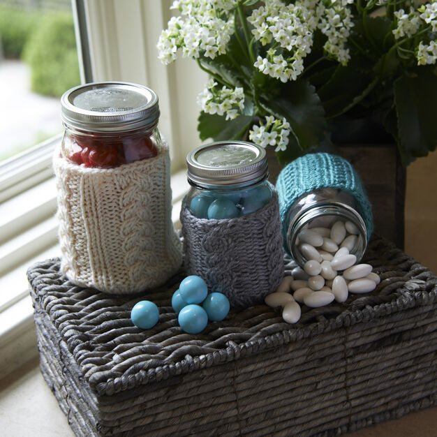 Red Heart Cabled Jar Cozies, S in color
