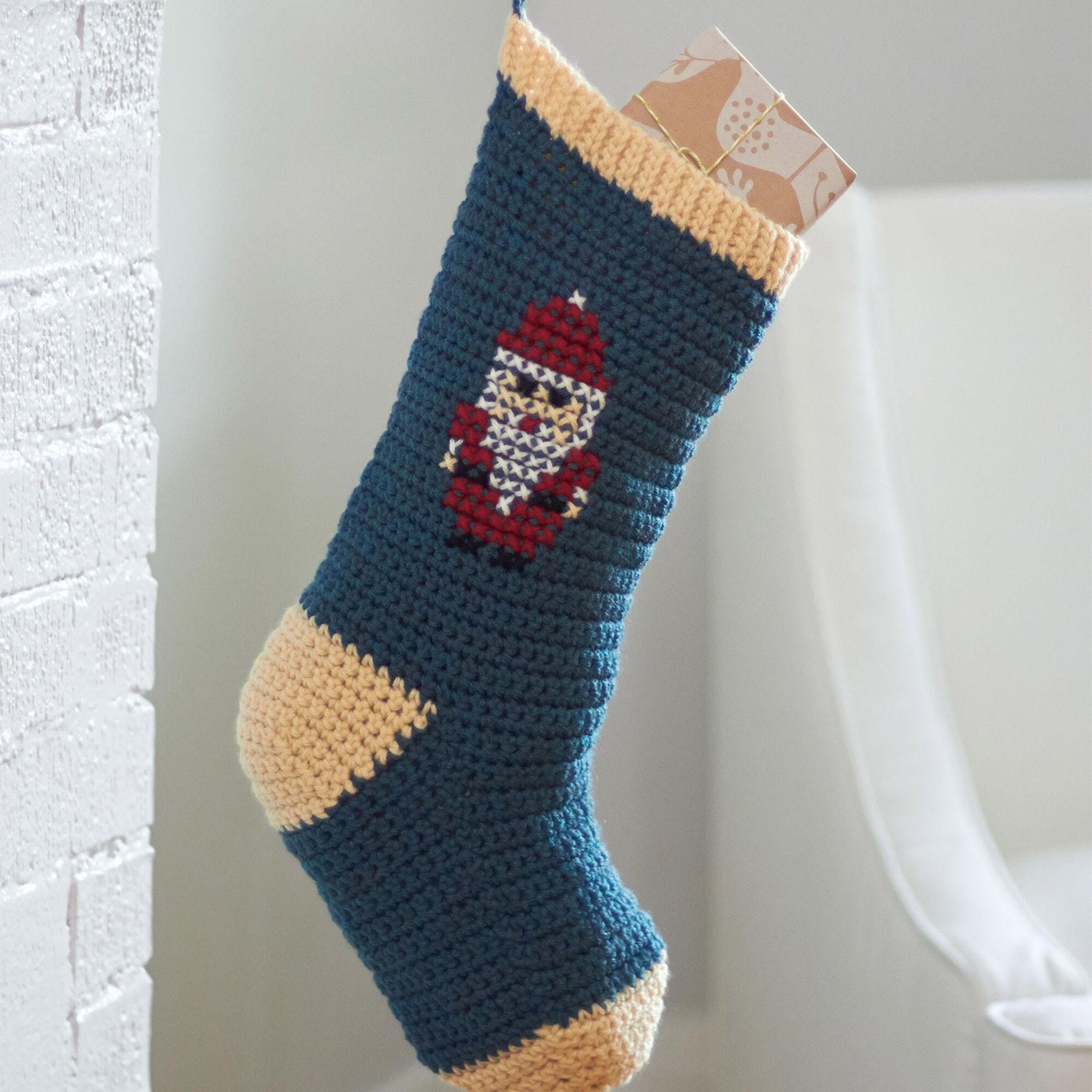 Bernat Cross Stitch Christmas Stockings, Snowman | Yarnspirations